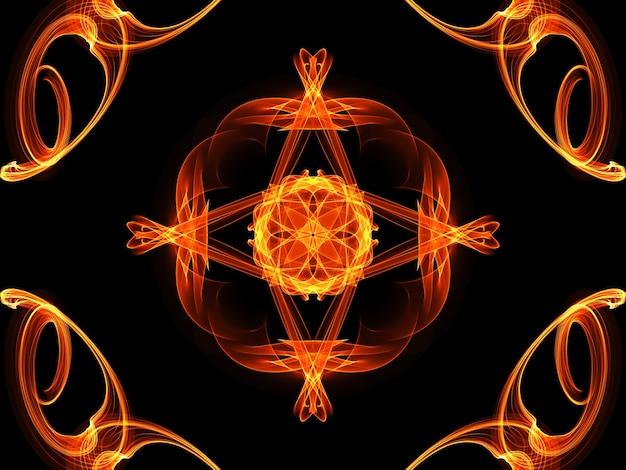 フルフレームは、黒の背景にシームレスな輝く火の花のパターンを示しています