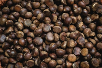 Full frame of chestnuts at a Vietnamese farmers market