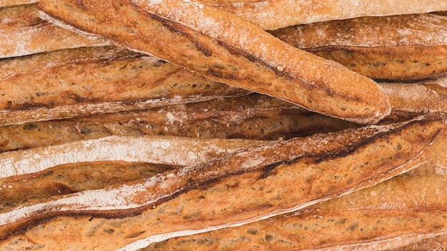 Full frame of rustic baguettes
