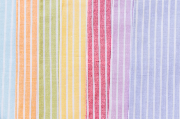 Full frame shot of colorful stripes pattern curtain samples