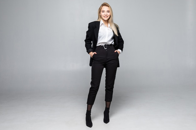 Full height of modern business woman isolated