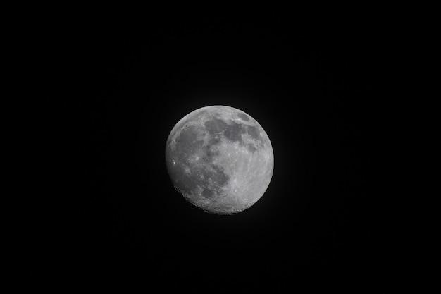 Полная большая луна на черном фоне