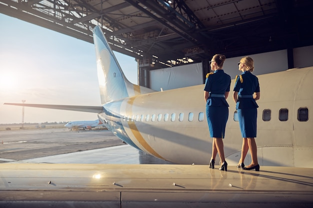 Full length back view portrait of elegant females in business uniform looking to the outdoors while standing on the wing of big passenger airplane