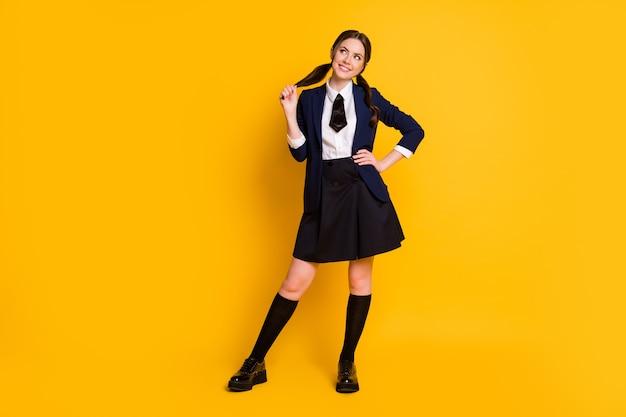 Full length body size view of charming cute dreamy cheerful schoolgirl learn dream