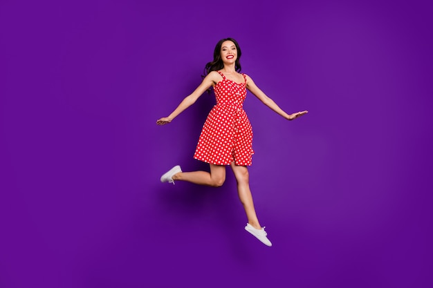 Full length body size view of her she nice attractive lovely cheerful cheery wavy-haired girl jumping