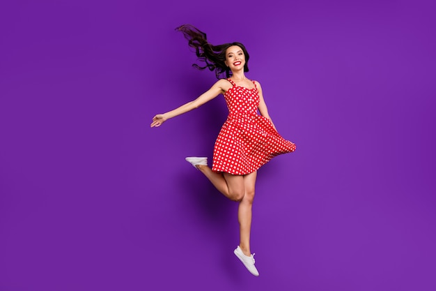 Full length body size view of her she nice attractive lovely girlish cheerful cheery wavy-haired girl jumping