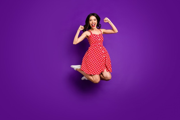 Full length body size view of her she nice attractive overjoyed cheerful cheery wavy-haired girl jumping
