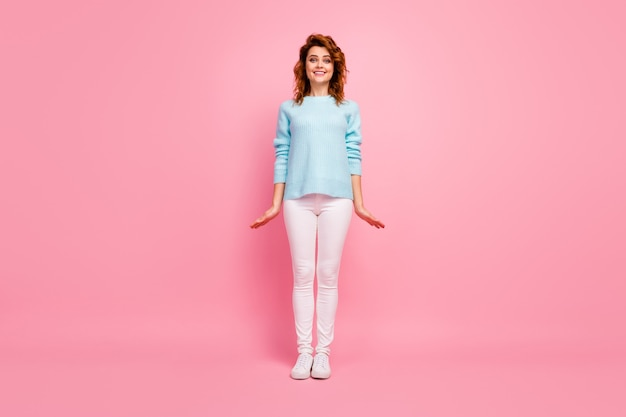 Full length body size view of her she nice-looking attractive lovely cute feminine cheerful cheery wavy-haired girl posing isolated over pink pastel color background