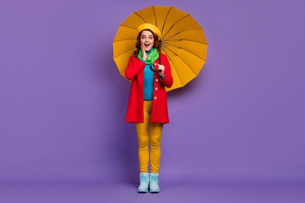 Вид в полный рост красивой привлекательной милой довольно веселой веселой изумленной волнистой девушки с зонтиком, омг, отличная новость, реакция изолирована на фиолетово-сиреневом пурпурном пастельном цвете