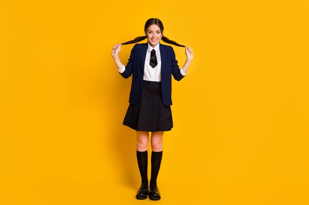 Full length body size view of pretty lovely cute girlish playful mood