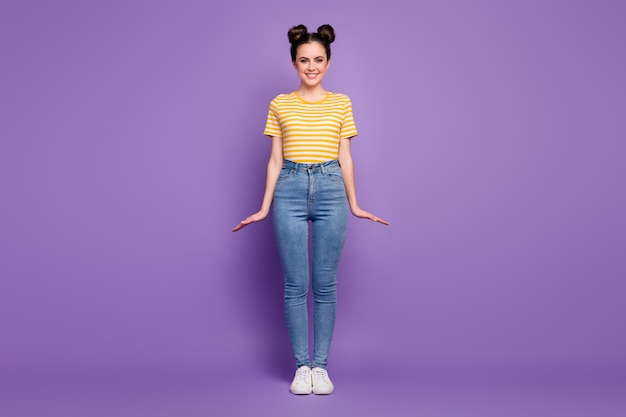 Full length body size view of winsome shy girl posing