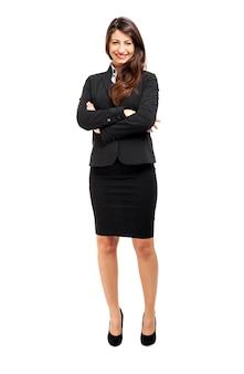 Full length businesswoman portrait isolated on white