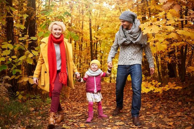 Full length of family in woodland
