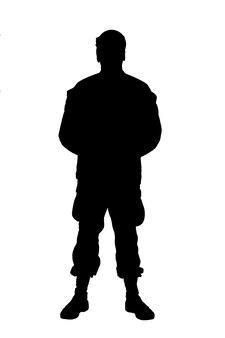 Студийная съемка в полный рост или солдат в камуфляжной форме и кепке, стоящий на параде