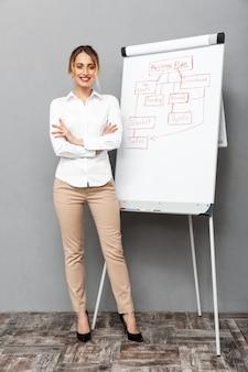 Полное изображение красивой бизнес-леди в формальной одежде, стоящей и делающей презентацию с использованием флипчарта в офисе, изолированные