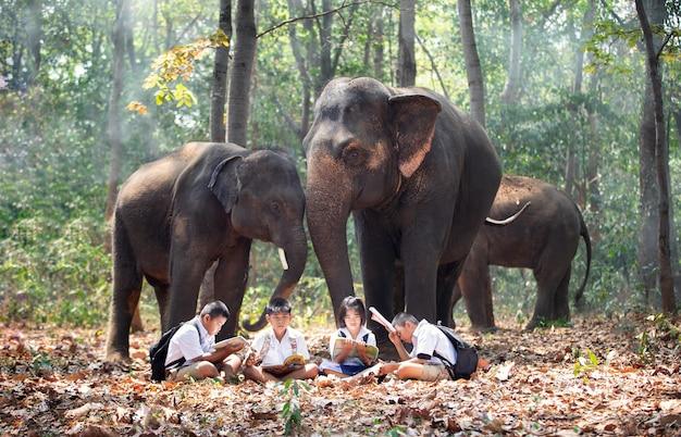 숲에서 코끼리에 의해 서 남학생의 전체 길이