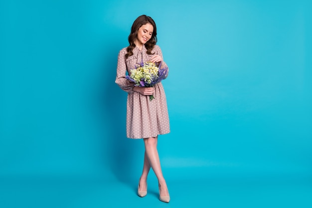 Full length photo of beautiful lady overjoyed expression hold big wildflowers surprise bunch present 8 march women's day wear dotted dress stilettos isolated blue color background