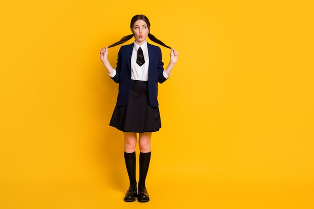 Full length photo of cute funny high school teenager look copyspace