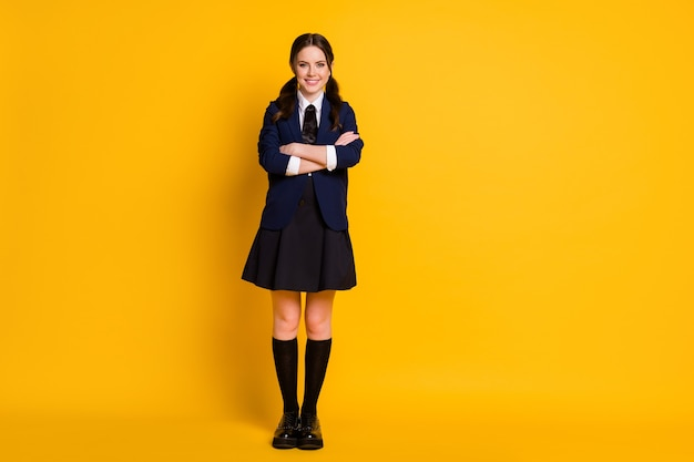 Full length photo of positive student teenager cross hands