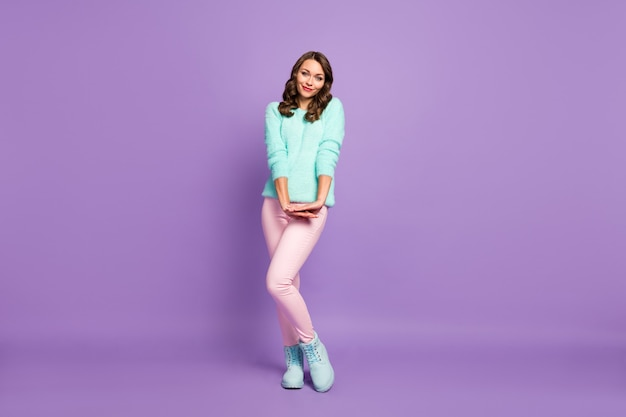 Full length portrait of beautiful wavy lady flirty good mood coquettish look shy person wear teal pastel fluffy pullover pink pants blue boots.