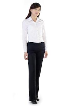 Full length portrait of businesswoman isolated.