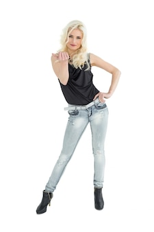 Full length portrait of casual woman with blonde hair