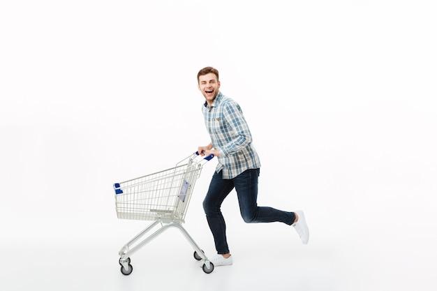 Full length portrait of a happy man running