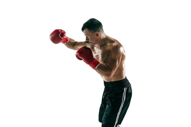 Full length portrait of muscular sportsman with prosthetic leg