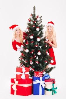 白い背景で隔離のクリスマスの近くに立っているサンタの布を着た 2 人の女性の完全な長さの肖像画