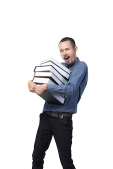 Full length portrait of a professional man carrying heavy folders of book, isolated