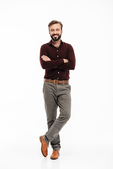 Full length portrait of a relaxed smiling man
