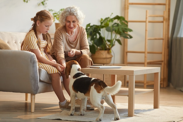 Full length portrait of smiling senior woman and cute granddaughter playing with pet dog in cozy home interior