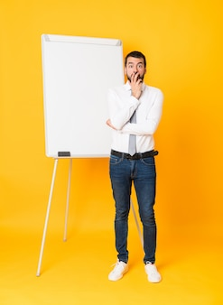 Full-length shot of businessman giving a presentation on white board surprised and shocked while looking right