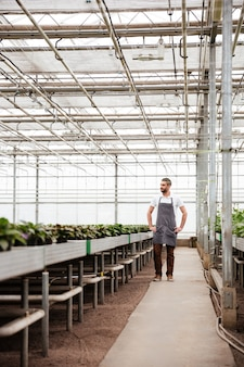 Full-length shot of man worker standing in greenhouse