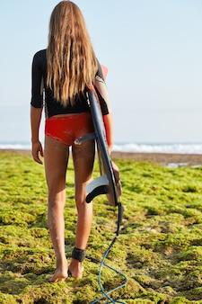 Colpo integrale di donna magra cammina in mare con tavola da surf, fissata con legrope