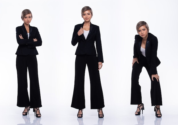 Full length snap figure, asian business woman wear black suit, she 20s has dying gray color short hair and acts many poses, studio lighting white background isolated collage group