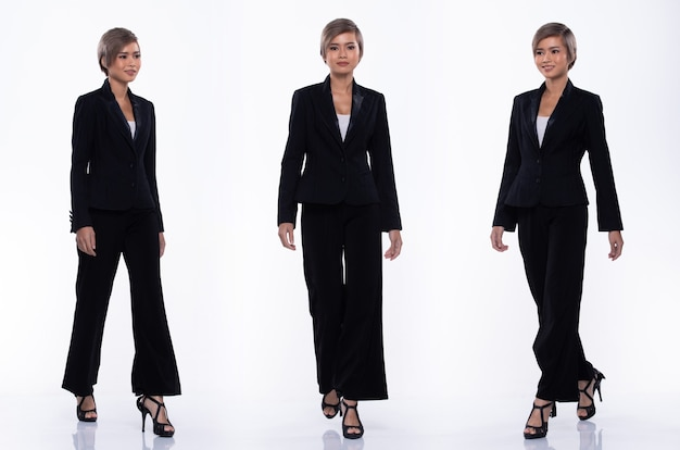 Full length snap figure, asian business woman wear black suit, she 20s has dying gray color short hair and walks many poses direction, studio lighting white background isolated collage group