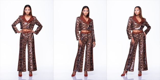 Full length snap figure of young asian woman tan skin high fashion wears snake skin pattern design sexy dress. studio lighting white background isolated, collage group pack concept