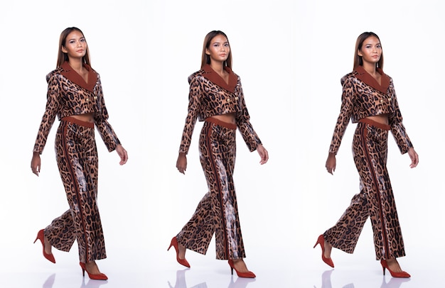 Full length snap figure of young asian woman tan skin high fashion wears snake skin pattern dress and walking high heel shoes. studio lighting white background isolated, collage group pack concept