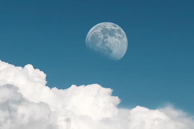 Full moon appears during daytime in late afternoon