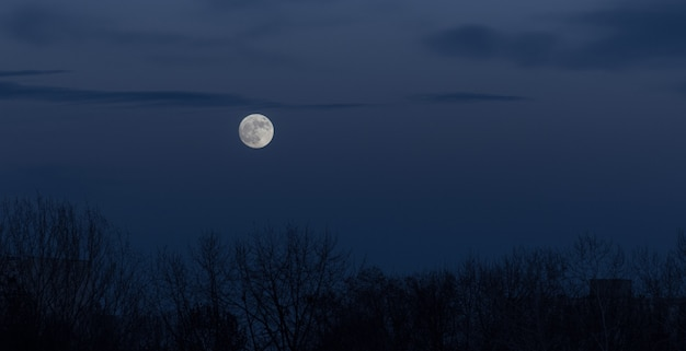 Full moon in the dark sky during moonrise