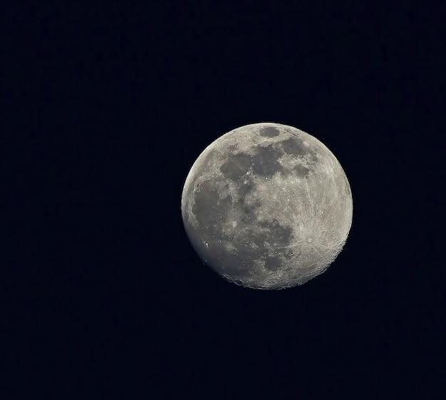 暗い夜空の満月
