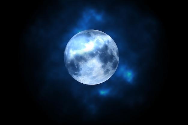 배경 안개에 보름달 프리미엄 사진