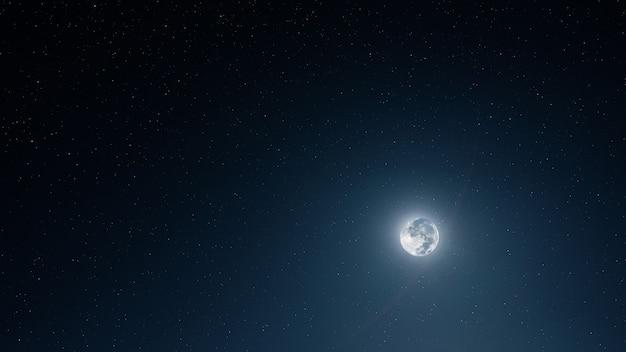 Полная луна в звездном небе