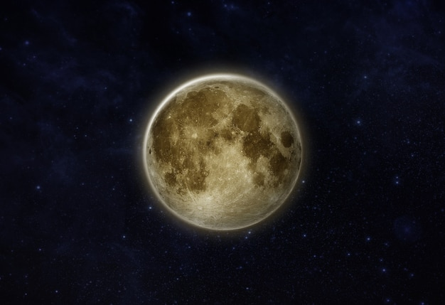 Полнолуние лунный изолят в звездном поле на темном ночном небе или черном космосе показывает поверхность луны или текстуру
