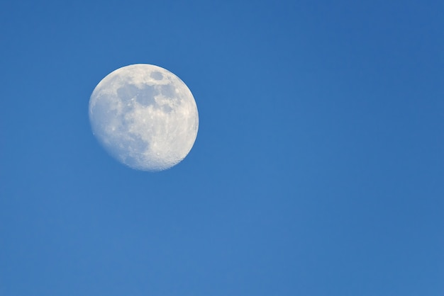 Full moon rising during spring evening with blue sky