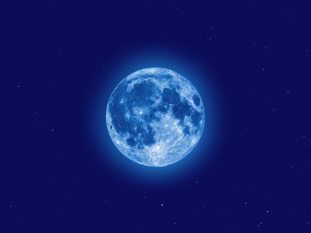 망원경으로 본 보름달, 별이 빛나는 하늘