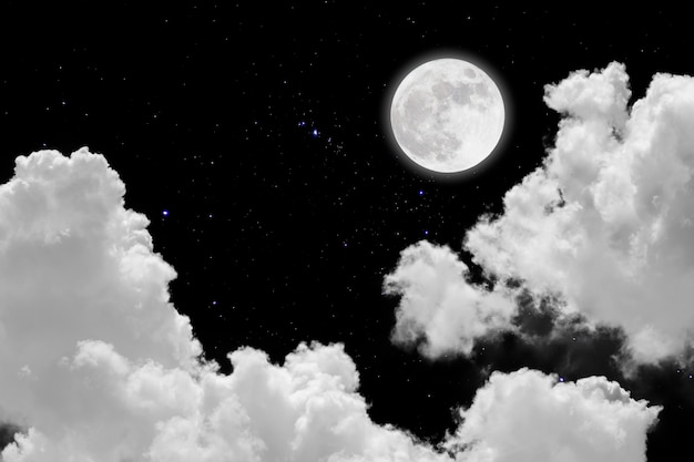 Full moon with starry and clouds background