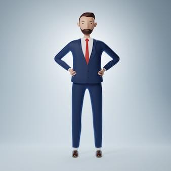 Полный уверенности мультипликационный персонаж бизнесмен стоять. 3d иллюстрация