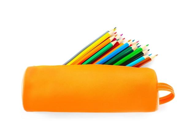 Full orange pencil case isolated on white